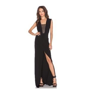Solace London Mesh Insert Cocktail Maxi Gown